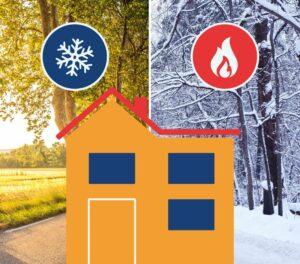 Illustratie van een huisje dat goed geïsoleerd is in de zomer en de winter